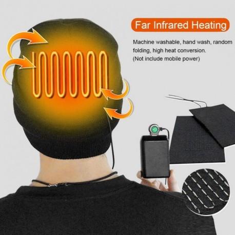Gorro calefactor eléctrico recargable gorro de Punto 3 Control de temperatura gorra caliente inteligente para esquí al aire libr