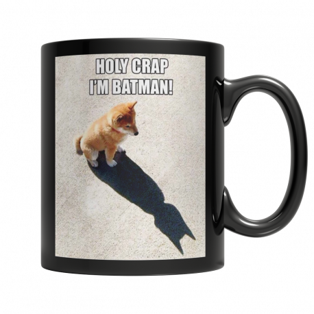 Holy Crap, I'm Batman!  11oz Black Ceramic Mug (MondoPooch Exclusive)