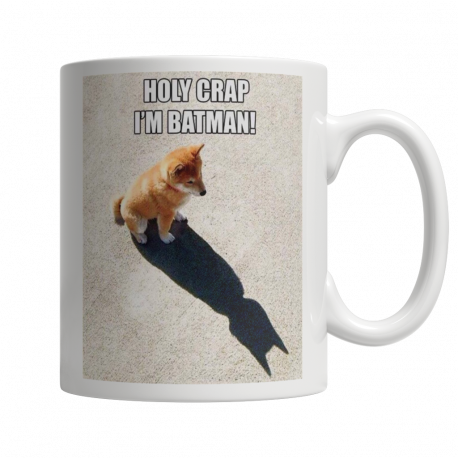 Holy Crap, I'm Batman! 11oz Ceramic White Mug (MondoPooch Exclusive)