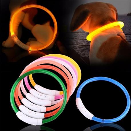SAFE-T-RING:  Adjustable Illuminated Dog Safety Collar, charged via USB