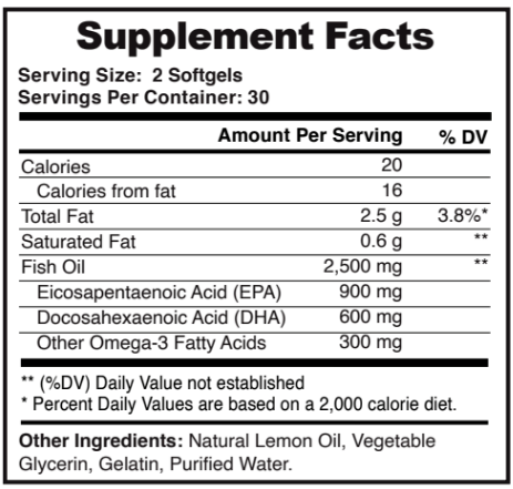 Ultra Omega 3 Fish Oil Ingredients Label
