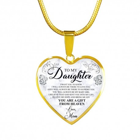 To My Daughter, I Will Always Be There To Love You - Gold Heart