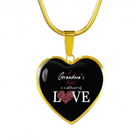 A Grandmas Heart Is A Patchwork of Love - Heart Necklace