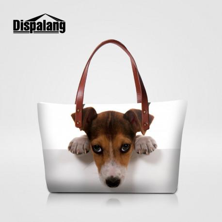 3D Dog Print Tote Purse Handbag