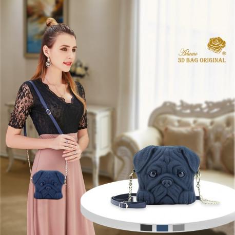 3D Pug Handbag Purse with Chain Strap