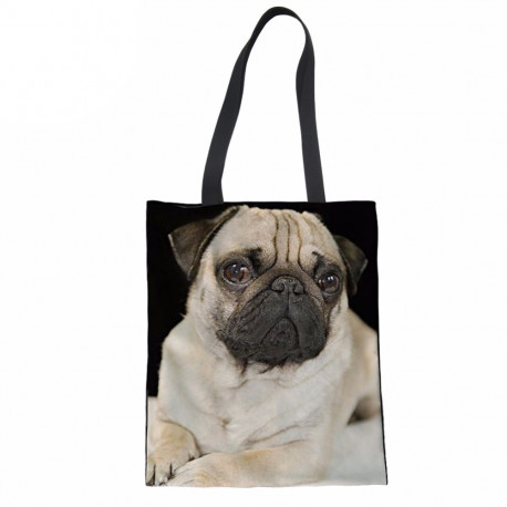 Dog Canvas Shopping Bag Tote Pug Terrier
