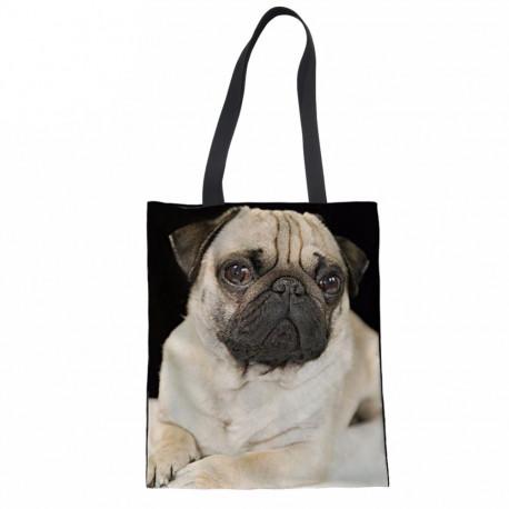 Dog Canvas Shopping Bag Tote Pug Terrier