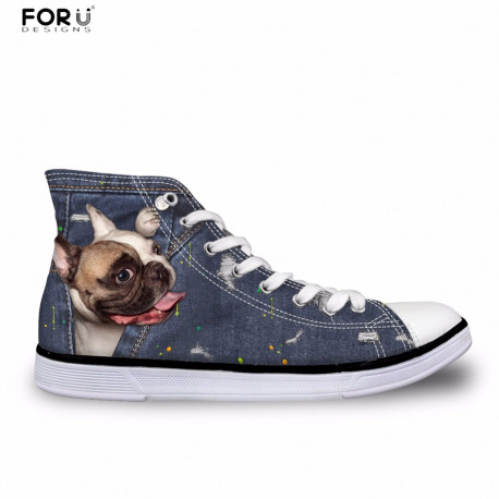 Denim 3D Dog Sneakers Womens High Tops with Pug, Boxer or Yorkie