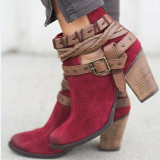 2018 Autumn Winter Women Boots Fashion Casual Ladies shoes Martin boots Suede Leather Buckle boots High heeled zipper Snow boot