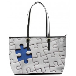 Autism Blue on White Tote Bag
