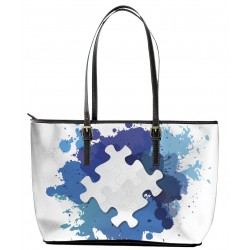 Autism White on Blue Tote Bag