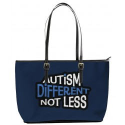 """Autism """"Different Not Less"""" Dark Blue Large Tote Bag"""