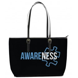 Autism Awareness White and Blue Tote Bag