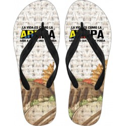 """La vida es como la AREPA"" Flip Flops"
