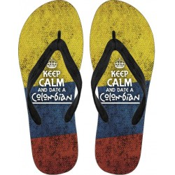 """""""Keep Calm and Date a Colombian"""" Flip Flops"""