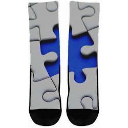 Autism Blue On White Socks