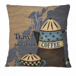 Travel and Drink Coffee Pillow Case