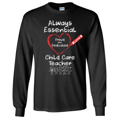 Crayon Heart with Kids Big White Font Child Care Teacher Unisex Long-Sleeved Shirt