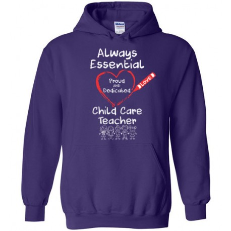 Crayon Heart with Kids Big White Font Child Care Teacher Hoodie