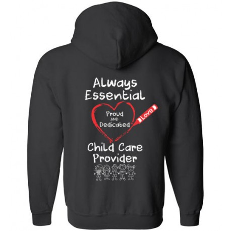 *Logo on Back* Crayon Heart with Kids Big White Font Zip-up Hoodie
