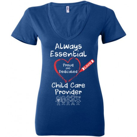 Crayon Heart with Kids Big White Font Women's Deep V-Neck