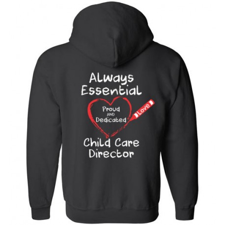 *Logo on Back* Crayon Heart Big White Font Director Zip-Up Hoodie