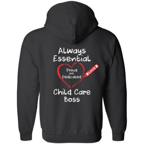 *Logo on Back* Crayon Heart Big White Font Boss Zip-Up Hoodie