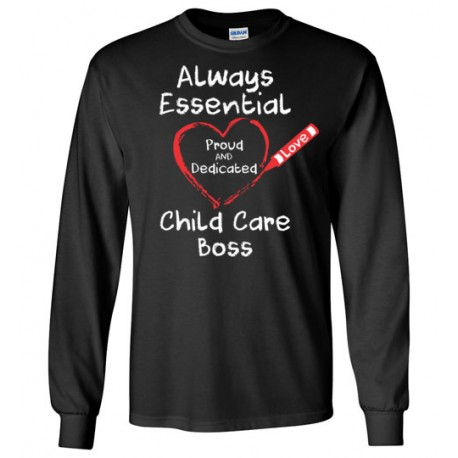 Crayon Heart Big White Font Boss Long-Sleeved Shirt