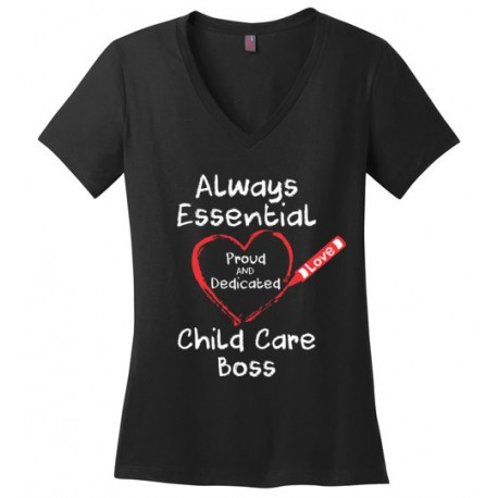 Crayon Heart Big White Font Boss Women's V-Neck