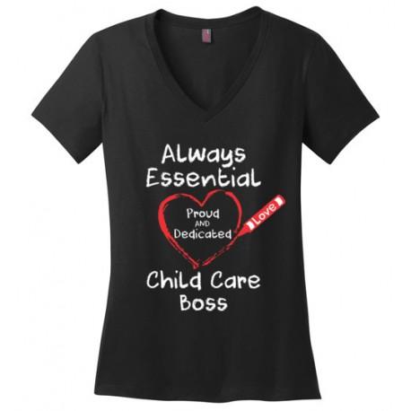 Crayon Heart Big White Font Boss Women's V-Neck