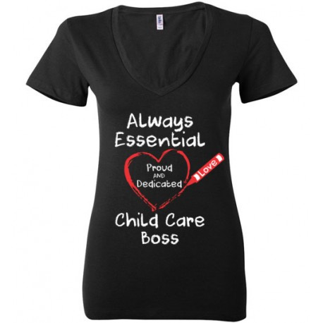 Crayon Heart Big White Font Boss Women's Deep V-Neck