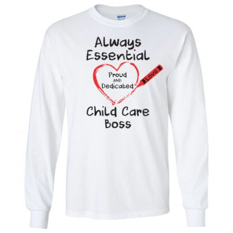 Crayon Heart Big Black Font Boss Long-Sleeved Shirt