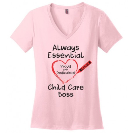 Crayon Heart Big Black Font Boss Women's V-Neck