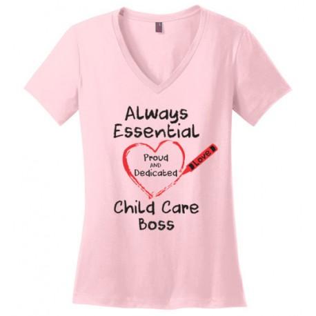 Crayon Heart Big Black Font Boss Women's V-Neck