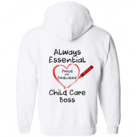 *Logo on Back* Crayon Heart Big Black Font Boss Zip-Up Hoodie