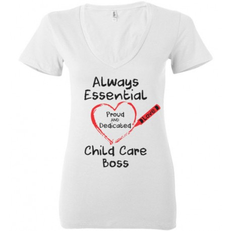 Crayon Heart Big Black Font Boss Women's Deep V-Neck