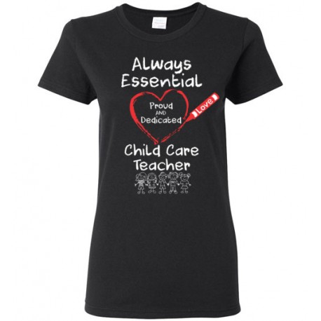 Crayon Heart with Kids Big White Font Child Care Teacher Women's T-Shirt