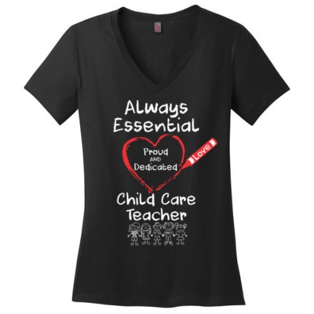 Crayon Heart with Kids Big White Font Child Care Teacher Women's V-Neck T-Shirt