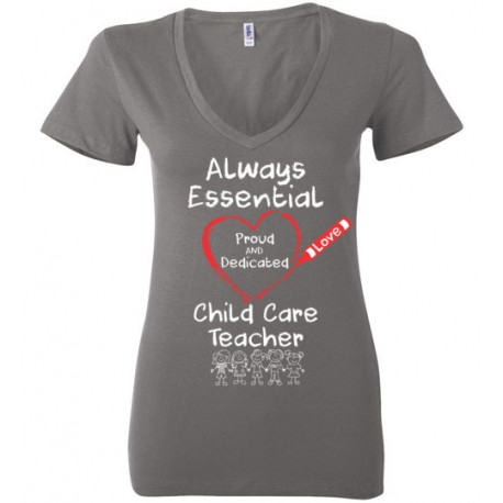 Crayon Heart with Kids Big White Font Child Care Teacher Women's Deep V-Neck T-Shirt