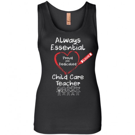 Crayon Heart with Kids Big White Font Child Care Teacher Women's Tank