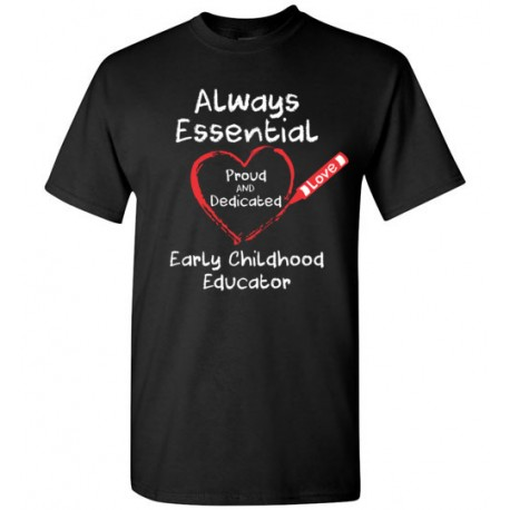 Crayon Heart Big White Font Early Childhood Educator Men's T-Shirt
