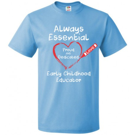 Crayon Heart Big White Font Early Childhood Educator Unisex T-Shirt