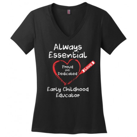 Crayon Heart Big White Font Early Childhood Educator Women's V-Neck T-Shirt
