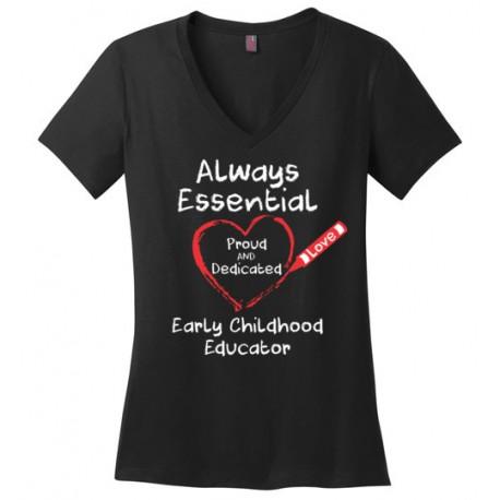 Crayon Heart Big White Font Early Childhood Educator Women's V-Neck T-Shirt