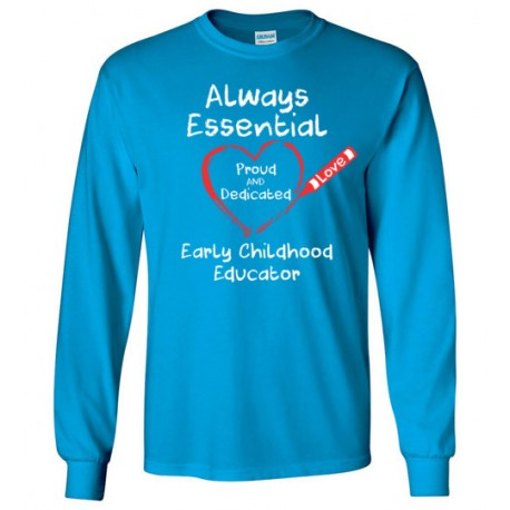 Crayon Heart Big White Font Early Childhood Educator Long-Sleeved Shirt