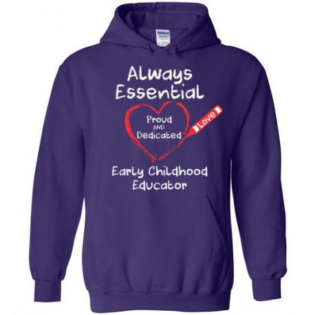 Crayon Heart Big White Font Early Childhood Educator Hoodie