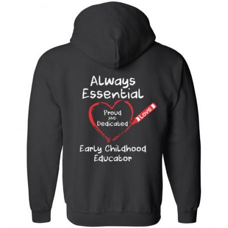 *Logo on Back* Crayon Heart Big White Font Early Childhood Educator Zip-Up Hoodie