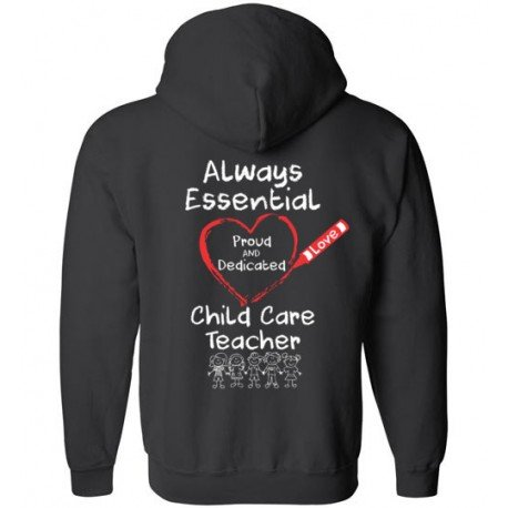 *Logo on Back* Crayon Heart with Kids Big White Font Child Care Teacher Zip-Up Hoodie