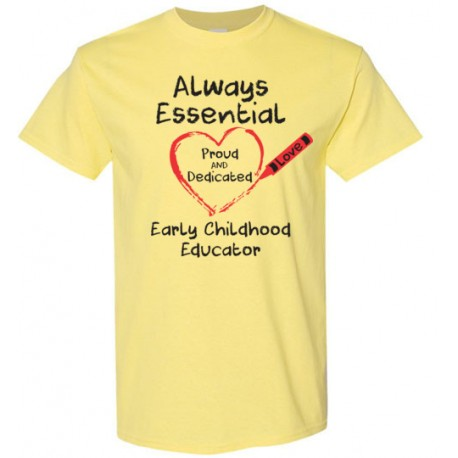 Crayon Heart Big Black Font Early Childhood Educator Men's T-Shirt