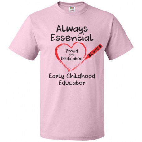 Crayon Heart Big Black Font Early Childhood Educator Unisex T-Shirt